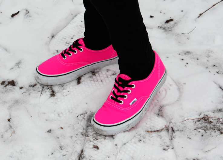 Outfit neon pink vans and fake fur hoodie jacket. u2013 Hoard of Trends u2013 Personal Style u0026 Fashion ...