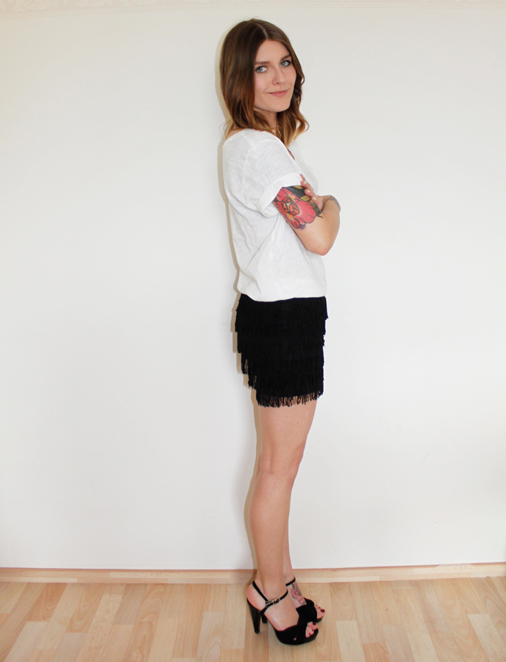 new in fringed skirt jacket with leather sleeves by