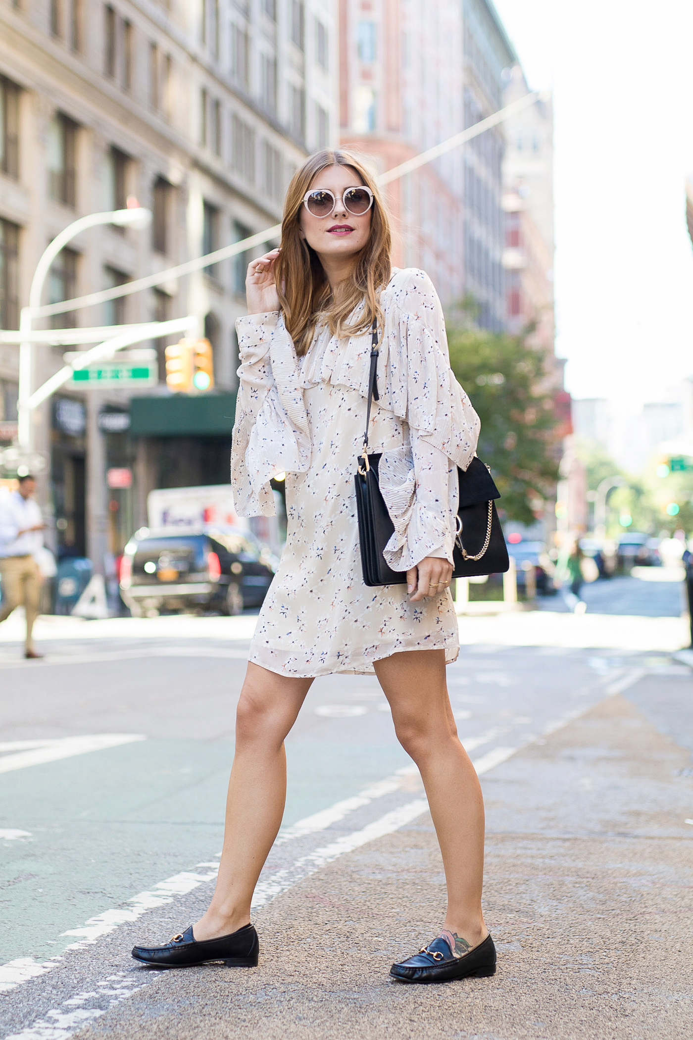 New_York_Broadway_Outfit_Ruffle_Dress_Gucci_Loafers_1