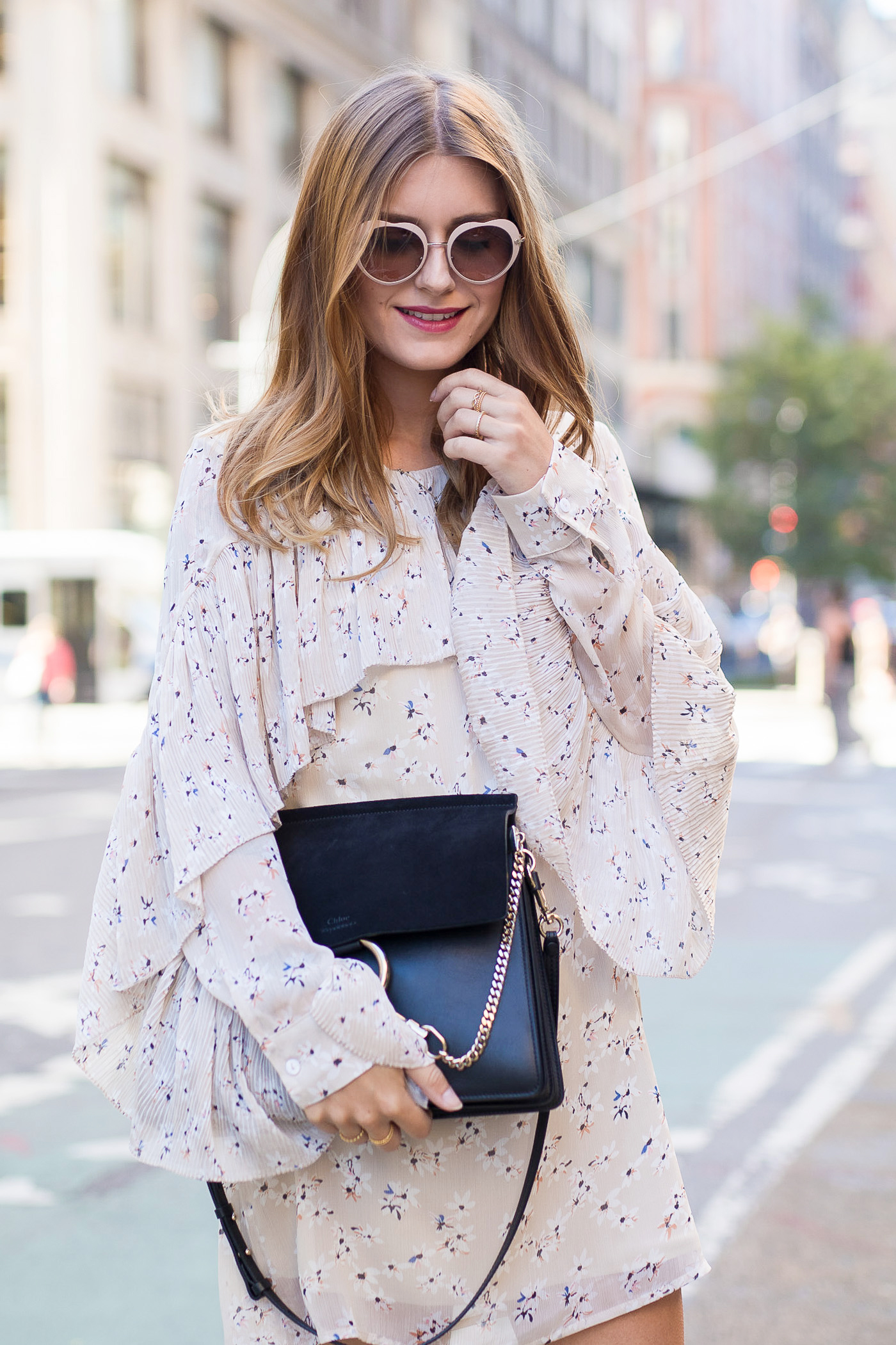 New_York_Broadway_Outfit_Ruffle_Dress_Gucci_Loafers_7