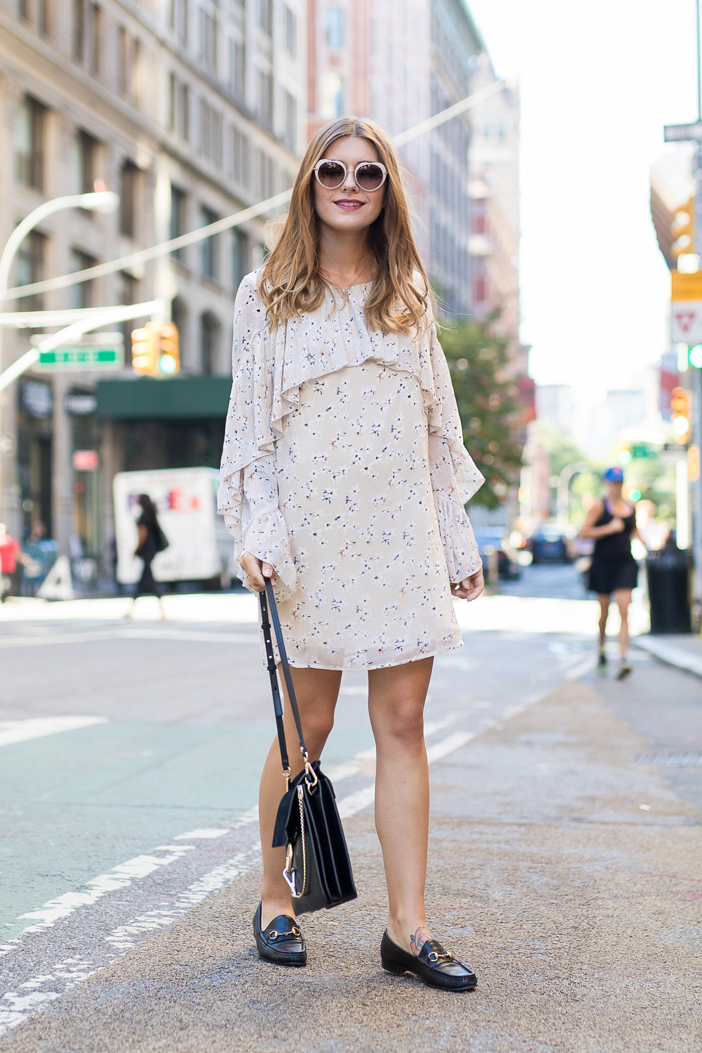New_York_Broadway_Outfit_Ruffle_Dress_Gucci_Loafers_8
